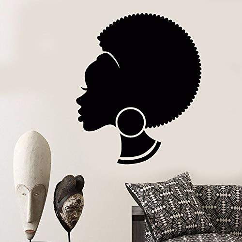 57 * 69cm Vinyl Wall Decal Abstract African Woman Wall Sticker Removable Hairstyle Black Girl Art Mural Salon Shop Design Decor AY582