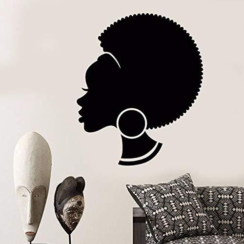 wen-shhen Extracto Africano Femenino Vinilo Pared calcomanía extraíble Pared Peinado Negro Chica Mural Arte salón Tienda diseño decoración
