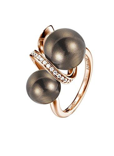 Pierre Cardin Femme 925 Argent|#Silver Balle Perle d'imitation Gris Blanc Zircon Perle