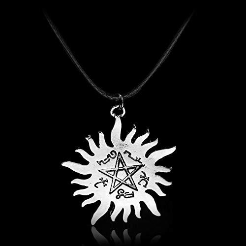 YUNMENG Símbolo de Personalidad Sobrenatural Estrella declaración Colgante Collar de aleación Dean Winchester Vintage Cuerda Cuero Regalo para Fans