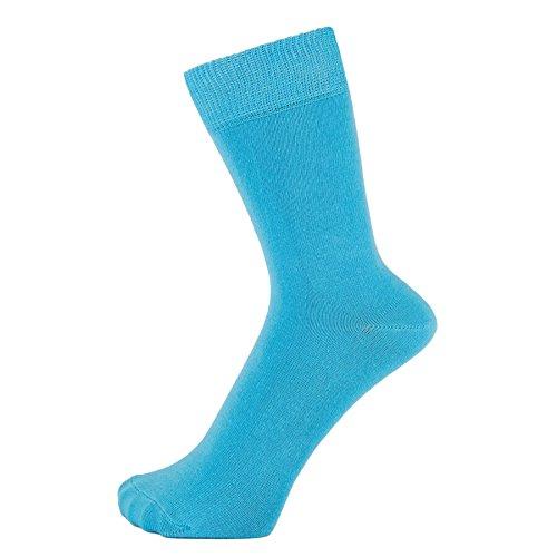 ZAKIRA Finest Combed Cotton Dress Socks in Plain Vivid Colours for Men, Women, 6-9 (US), Turquoise