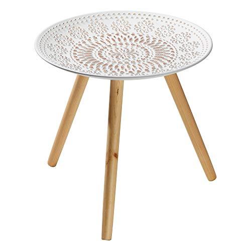 Cepewa Beistelltisch Nachttisch Telefontisch Mandala aus Holz und MDF Tischplatte Ø 45 cm H 41 cm