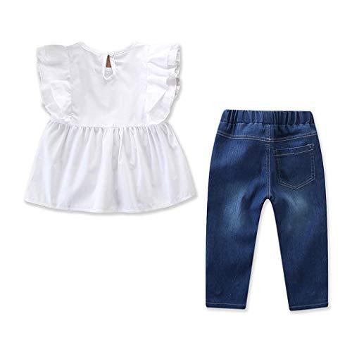 Baby Mädchen Bekleidungssets Kinder Kleinkind Säugling Einfarbiges Freizeit Outfits Set Babybekleidung Fliegender Ärmel Rockabilly Tops + Perlen Denim Hose (Weiß, 100)