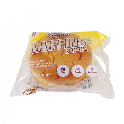 ThinSlim Foods 40 Calorie Low Carb Banana Muffins - Keto-Friendly 4 Pack
