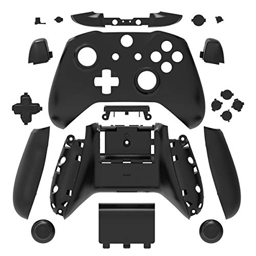 Black Matt Finish Full Housing Shell Case Cover Mod Kit Replacement for Xbox One S & Xbox One X Controller DIY Custom Including Front Faceplate Bottom Shell Buttons Tools