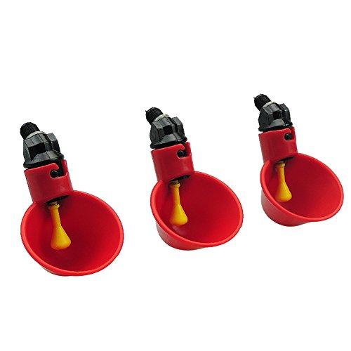 Ferme et Ranch Automatique Poulet / Volaille Buveurs / Abreuvoirs avec Coupes Arrosage Coupes Bols Backyards en plastique rouge Poulet Voleur Canard Bird Feeder (4 tasses avec matériel)