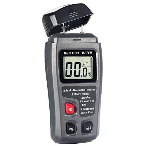 Bside EMT01 Digital Wood Moisture Meter Handheld 2 Pins Timber Lumber Damp Humidity Detector Tester with Large LCD Display