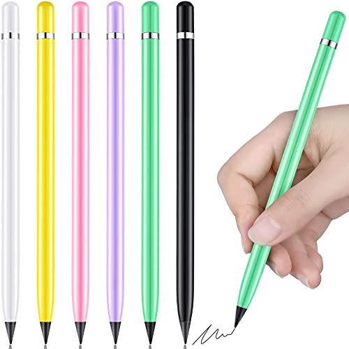 6 Pieces Metal Inkless Pen Aluminium Everlasting Pencil Metallic No Ink Signing Pen Assorted Color Inkless Pen for Kids and Adults, Home Office School Supplies