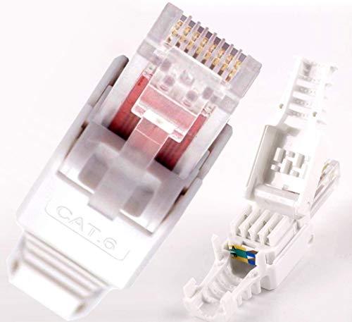 O&W Security 5X Netzwerk Stecker RJ45 Cat6 Cat7 Cat5 LAN Kabel werkzeuglos Netzwerkstecker ohne Werkzeug