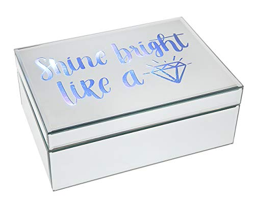 Philip Whitney Trinket Jewelry Box Organizer Mirror - LED Shine Bright Like A Diamond - 10x7