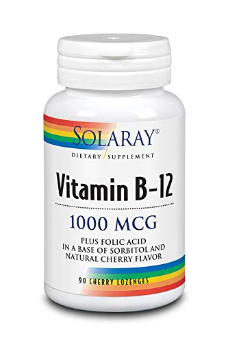 Solaray Vitamin B-12 1000mcg Lozenges with Folic Acid | Natural Cherry Flavor | Healthy Energy Support | 90ct, 90 Serv.