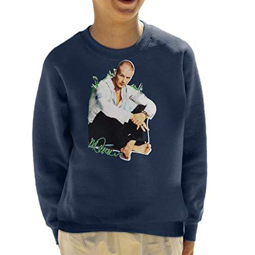 VINTRO Vintage David Beckham Shaved Head Kinder Sweatshirt Original Portrait von Sidney Maurer Gr. M, Oxford Navy