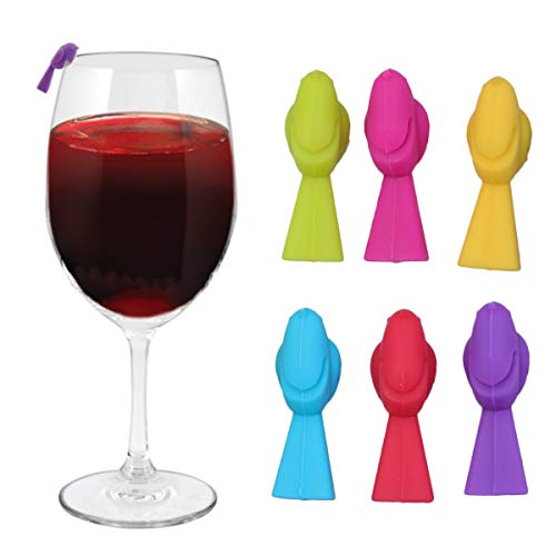 UPKOCH Silikon-Weinglas-Marker, Vogel-Form, für Partys, 6 Stück (gemischte Farbe)