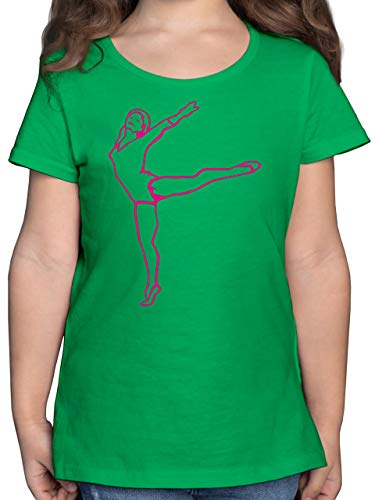 Sport Kind - Rhythmische Sportgymnastik - 140 (9/11 Jahre) - Grün - rhythmische Sportgymnastik - F131K - Mädchen Kinder T-Shirt