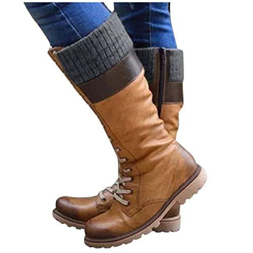 DNOQN Damen Stiefel Stiefeletten Winterstiefel Freizeit Schnürschuhe Mischfarben Flache Absätze Große Stiefel Schuhe Braun 39