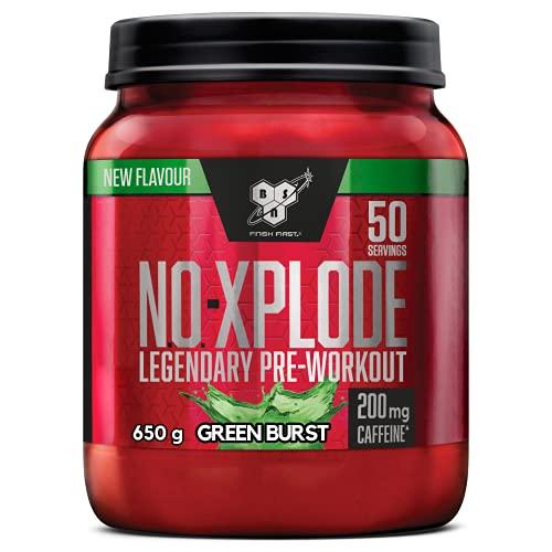 BSN N.O.-Xplode Pre Workout en Poudre, Complément Alimentaire avec Caféine, Vitamine C et Zinc, Green Burst, 50 Portions, 650 g, l'Emballage Peut Varier
