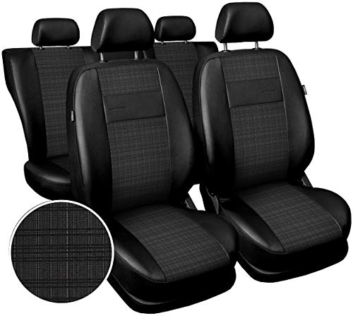Carpendo Sitzbezüge Auto Set Autositzbezüge Schonbezüge Vordersitze und Rücksitze - Airbag geeignet - Schwarz Grau - Exclusive E4