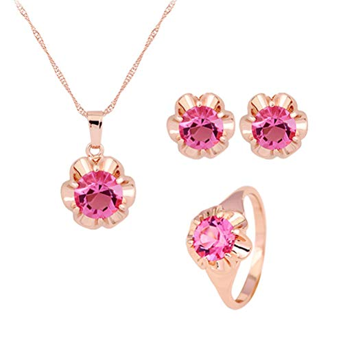 FENICAL Kristall Brautschmuck Set Diamant Hochzeit Halskette Ohrringe Ring für Braut Kleid Dekoration