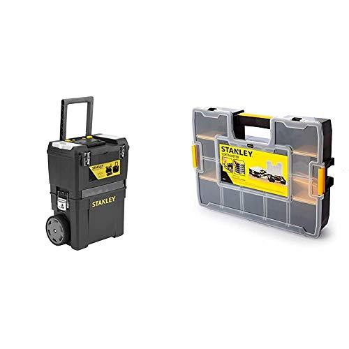 STANLEY 1-93-968 - Taller móvil para Herramientas 2 en 1, 47,3 x 30,2 x 62,7 cm + 1-94-745 - Organizador SortMaster 44.2 x 9.2 x 33.3 cm