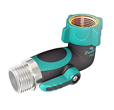 2wayz 90 Degree Garden Hose Elbow with Shut Off Valve. Upgraded 2019 Full Metal Bolted and Threaded Spigot Extender. Perfect for RVs. Ergonomic, Lead Free, Family Safe Adapter