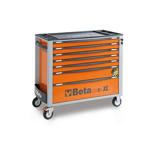 Beta C24SA-XL/7 Werkzeugwagen mit sieben Schubladen und Anti-Kipp-System, leerer Werkstattwagen (auf 4 Rollen, mit hochwiderstandsfähiger ABS-Arbeitsplatte, mit Zentralverriegelung), Orange