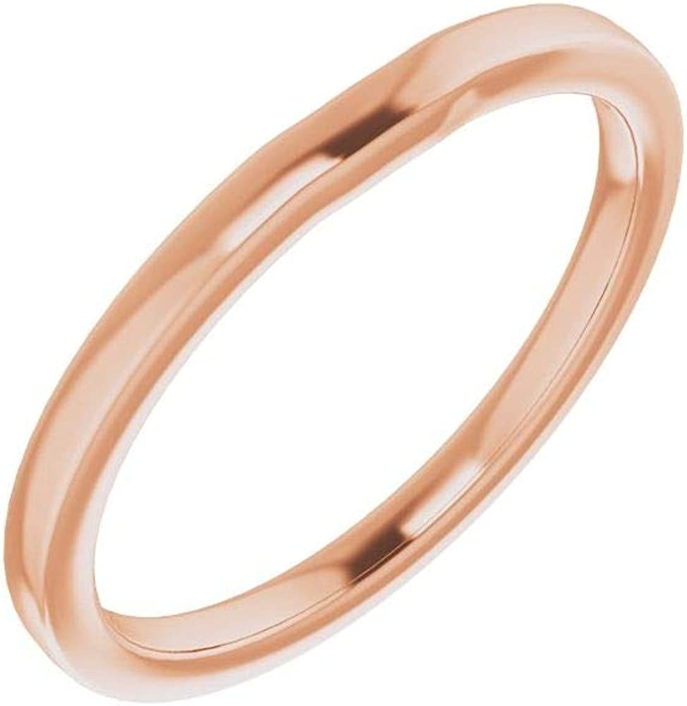 Solid 18K trend rank Rose Gold Curved Notched Wedding Band x Assc 6 6mm Chicago Mall for