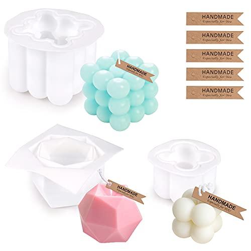 Stampo per Candele, GuKKK 3 Pcs Stampi per Candele in Silicone, Stampi per Candele 3D Bubble Cubo, Aromaterapia Stampo per Fare Candele, per Realizzare Candele, Sapone, Resina, Ornamenti