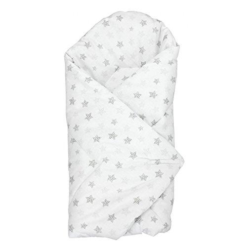 TupTam Manta Envolvente para Bebé, Puntos Estrellas Gris, c