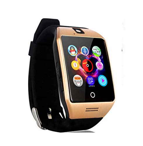 Rabusion Electronics For Bluetooth Smart Watch Men Q18 With Touch Screen Big Battery Support TF Sim Card Camera for Android Phone Smartwatch Gold
