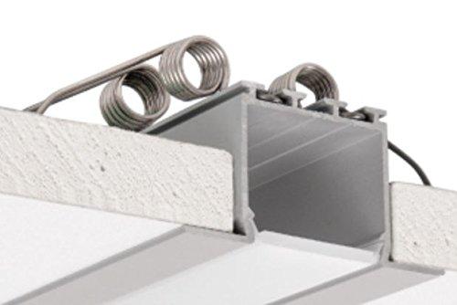 C2 Architectuurprofielen voor Plafond en Gipsplaat, Geanodiseerd, Zilver, Set met Melkachtige Diffuser en 4 montage Lente