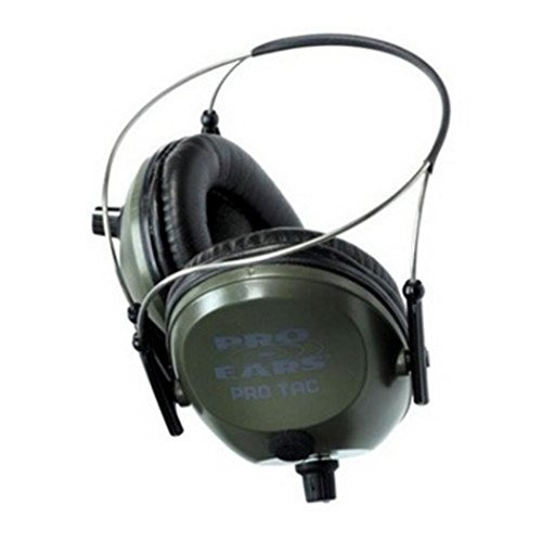 Pro Ears Pro Tac 300 NRR 26 Law Enforcement Electronic Hearing Protection, Green, Behind The