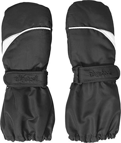 Playshoes Kinder - Unisex 1er Pack warme Winter-Handschuhe mit Klettverschluss Fäustling, Schwarz (Schwarz (Schwarz 20)), 3 ( 4-6 Jahre) (Herstellergröße: 3 ( 4-6 Jahre))