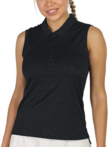 icyzone Damen Tennis Golf Bowling Polo Shirt Ärmellos Fitness Sport Top (M, Schwarz)