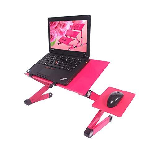 ZPWSNH Laptop Tafel Bureau Opvouwbare Verstelbare Draagbare Ondersteuning Staande Bed Sofa Stabiel met Muis Platform en Ventilator Rood Opvouwbare kleine tafel