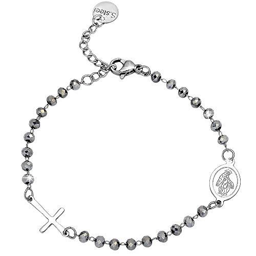 Beloved ❤️ Pulsera unisex para mujer y hombre rosario - Pulsera de acero inoxidable con cristales brillantes, cruz y Virgen - Longitud ajustable