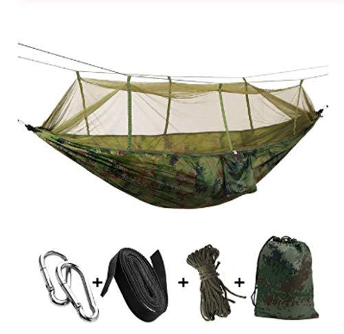 Hamac de Camping/Jardin avec moustiquaire Mobilier d'extérieur 1-2 Personne Portable Lit Suspendu Force Parachute Tissu Sleep Swing Camouflage