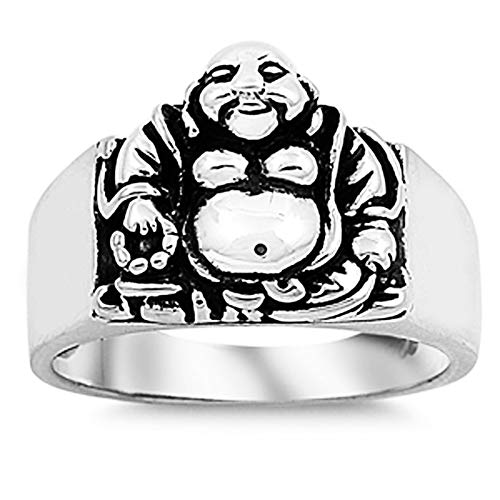 CloseoutWarehouse Sterling Silver Laughing Buddha Ring Size 8