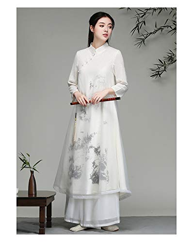 JTKDL Zen Kleding Chinese Fengshui Inkt Guqin Kostuum Fee Elegante Vloeiende Oude Stijl Jurk Zen Literaire Thee Pak Zomer