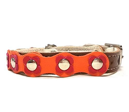 Superpipapo Original Collier pour Chat en Cuir avec Boucle Anti Étranglement de Sécurité Élastique, Design Hippie avec Fleurs en Cuir Marron, Orange et Rouge