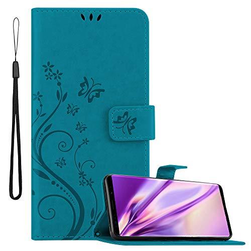 Cadorabo Hülle für Samsung Galaxy Note 9 in FLORAL BLAU Handyhülle im Blumen Design mit Magnetverschluss, Standfunktion & 3 Kartenfächern Hülle Cover Schutzhülle Etui Tasche