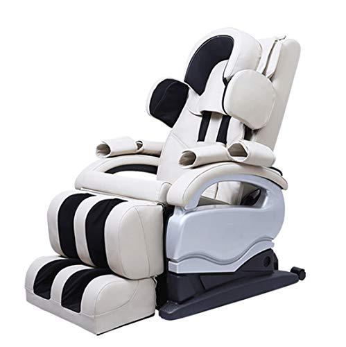 Elektrischer Massagesessel,Elektrischer Ganzkörpermassage-Stuhl 4D Schwerelosigkeit 3D Fuß Shiatsu Rückenmuskulatur, Roller, Vibration, Beruhigend Geschenk,Weiß