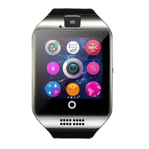 LayOPO Smart Watch mit Kamera, Q18 SmartWatch Wasserdicht Sport Smart Fitness Tracker Armbanduhr mit Sim Card Slot Kamera Schrittzähler für Android Smartphones Schwarz