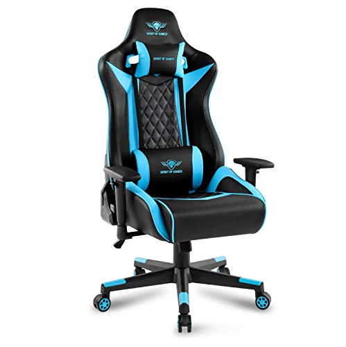 Spirit Of Gamer - Crusader Series - Silla para Juegos - Silla para Juegos - Cojín para Cuello Y Lumbar - Reposabrazos Ajustables En 3D - Inclinación De 160°(Azul)