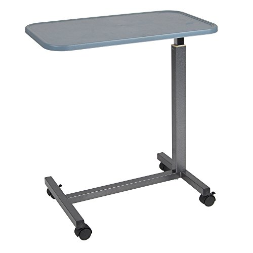 Drive Medical Overbed Table with Plastic Top, Silver Vein