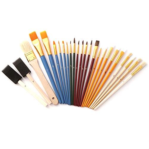 Pinceaux, 25 ensembles pinceau professionnel pinceau rond pointue peinture pinceau fonctionnel tube en alliage d'aluminium cheveux en nylon durable manche en bois crayon