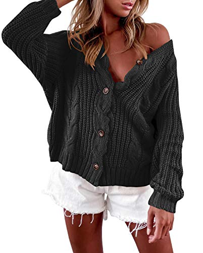 Romancan Damen Button Down Sweater Open Front Kurz Cardigan Zopfmuster Strickjacke Grobstrick Outwear