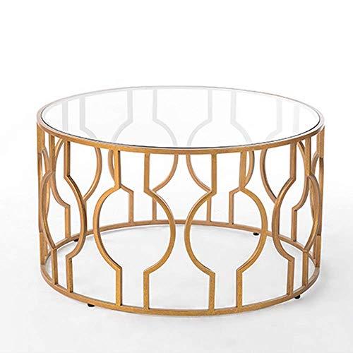 Carl Artbay Home&Selected Furniture/evenwichtige glazen bijzettafel Nordic woonkamer ronde salontafel, transparante glazen tafelblad en goudbasis, 22 inch (55,88 cm) 19,6