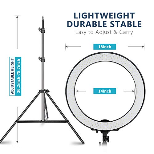 Neewer 18-inch SMD LED Ring Light Dimmable Lighting Kit with 78.7-inch Light Stand,...