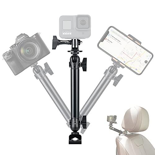 Auto Halterung Kopfstützenhalter Action Kamera Klammer Gelenkarm Arm stabile Klemme mit Kugelkopf 360° drehbar, Aluminiumlegierung KFZ Kopfstützen Halterung Video Vlog Rig für GoPro Sony DJI Apeman