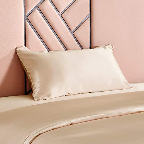 THXSILK Luxus 100% 19 Momme Seide Kissenbezug Kissenhülle mit Reißverschluss - Seide Kissen Bezug - Super Weich und Glatt Seidenkissenbezug (40x60cm, Champagner)